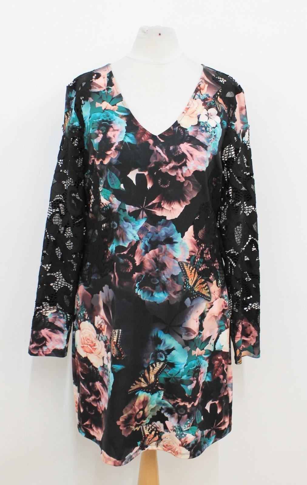 STAR-BY-JULIEN-MCDONALD-Ladies-Black-Lace-Bright-floral-Print-V-Neck-Dress-UK12