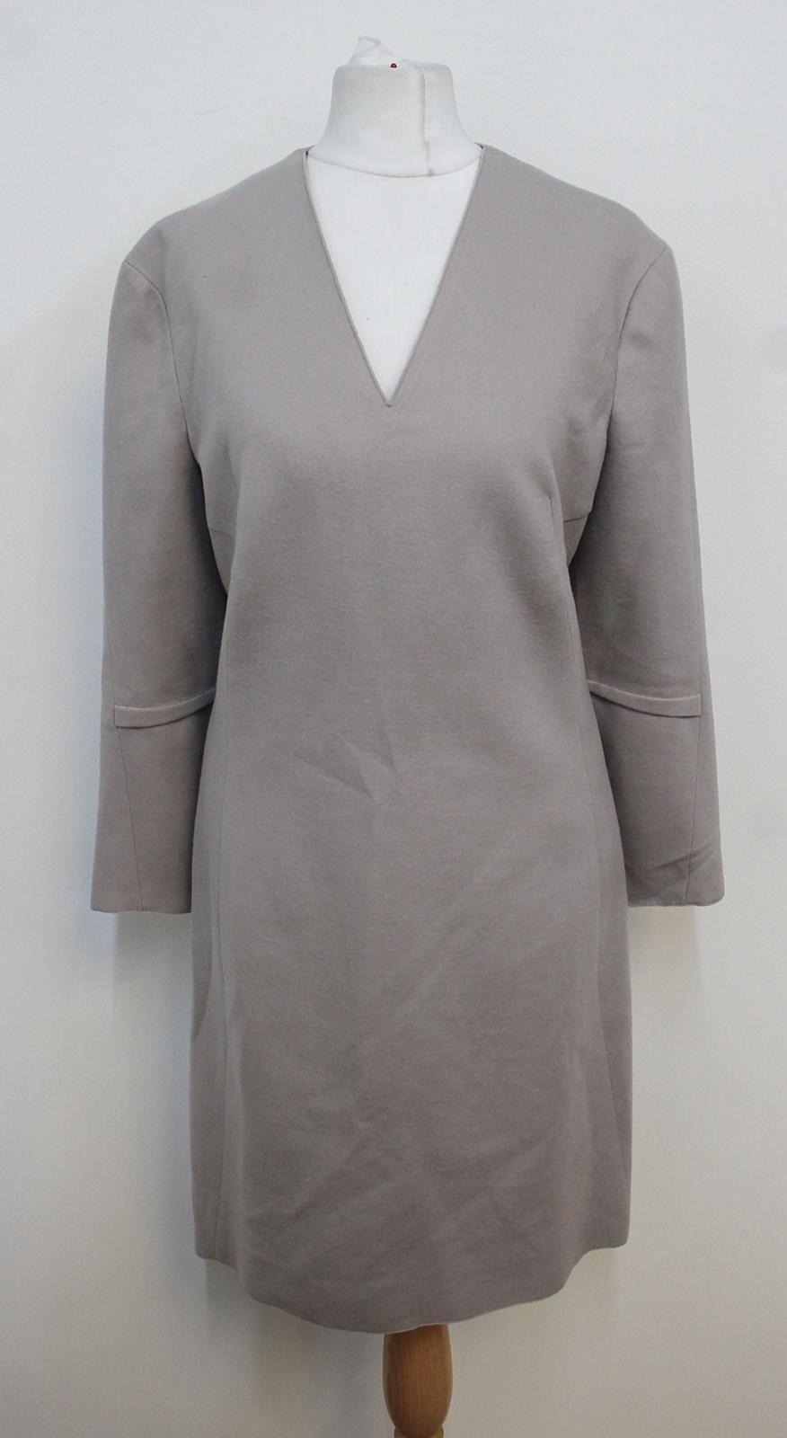 NICOLE-FARHI-Ladies-Stone-Beige-Long-Sleeved-V-Neckline-Shift-Dress-UK10