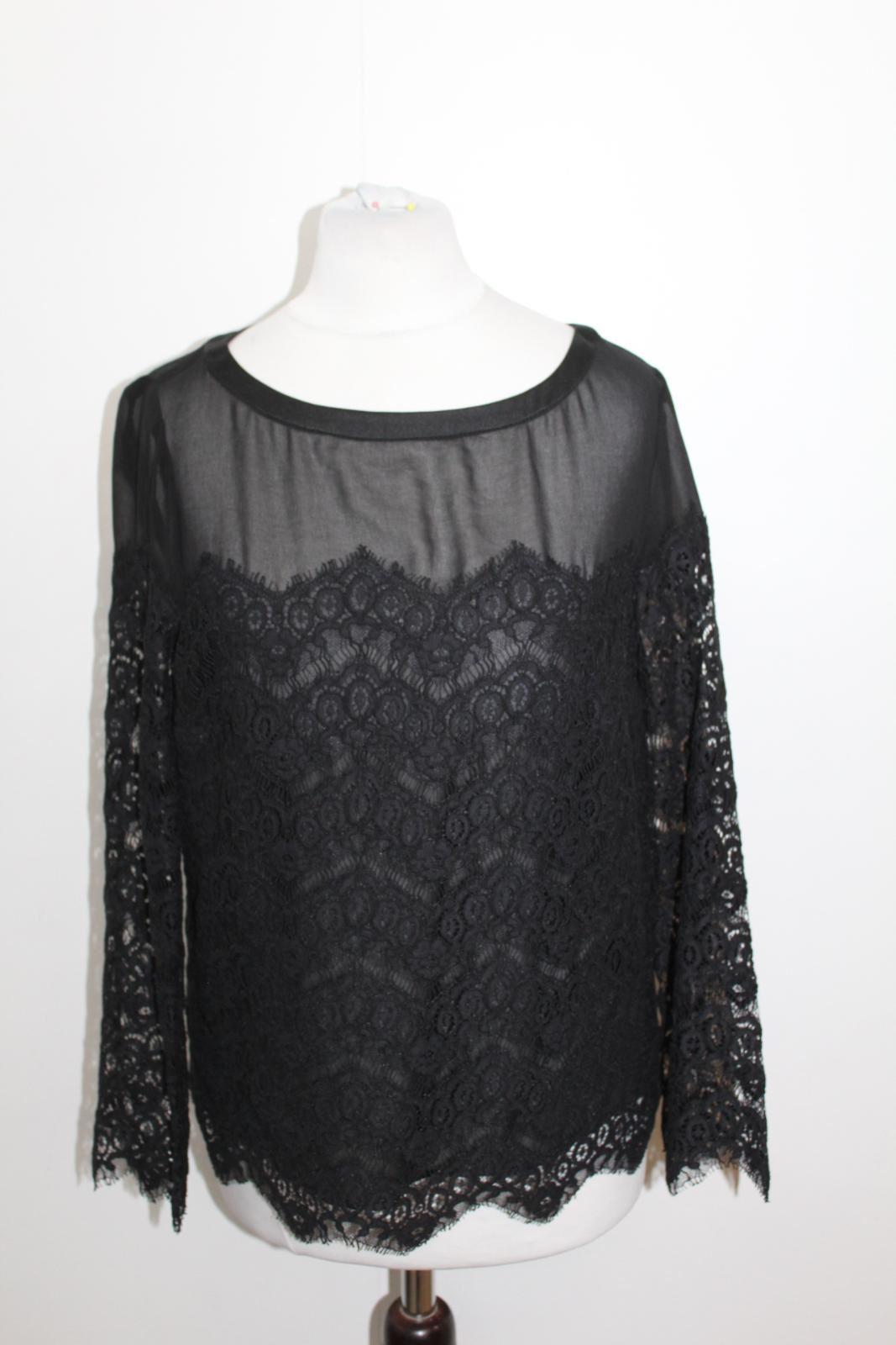 CLAUDIE PIERLOT Ladies schwarz Cotton Blend Long Sleeve Lace Blouse EU36 UK8 NWOT