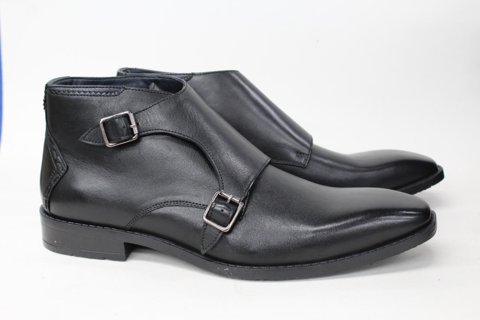 Goodwin Smith Men's Airton Black Leather Double Monk Ankle Boots Uk8 New