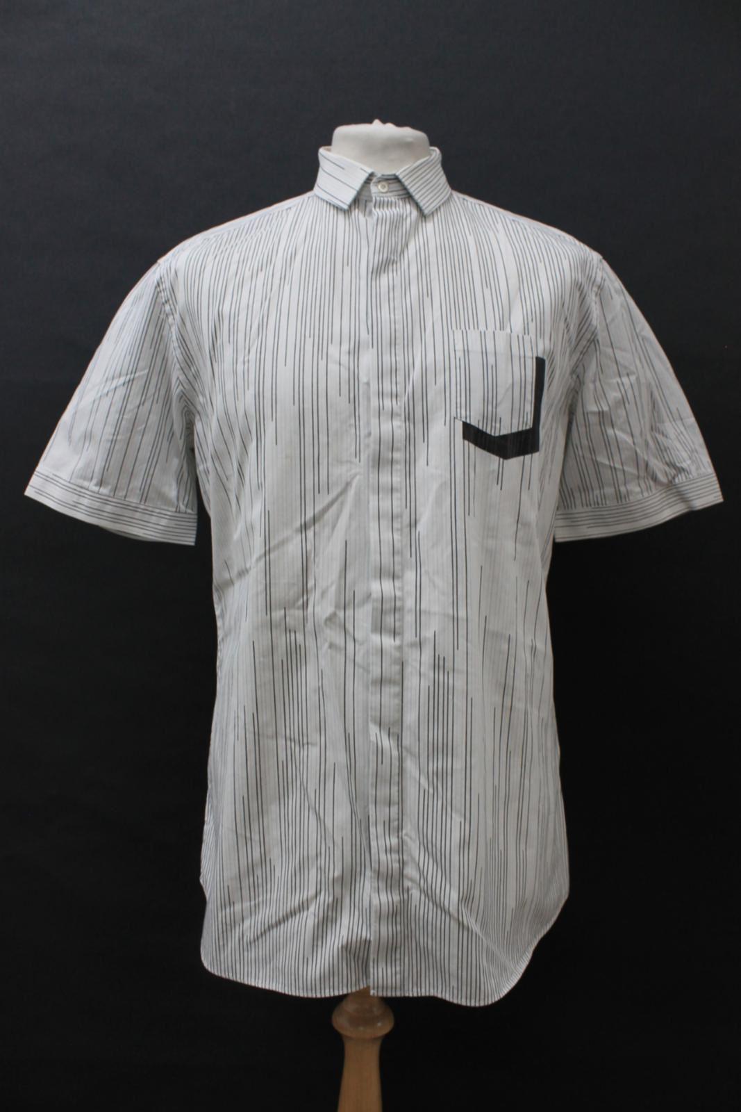 Neil-Barrett-Hombre-Blanco-Algodon-De-Rayas-Camisa-De-Manga-Corta-Estampado-de-bolsillo-16-5-034