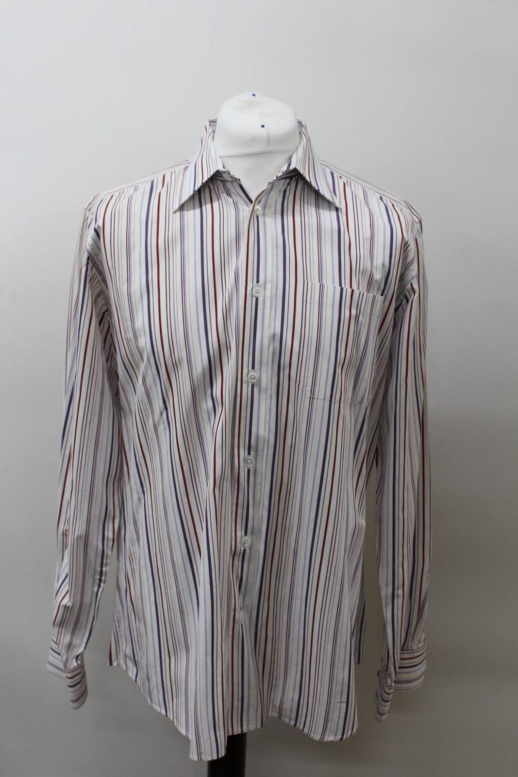 Hermes-para-hombre-Multi-Color-a-rayas-de-algodon-camisa-de-mangas-largas-cuello-16-5-034-42cm