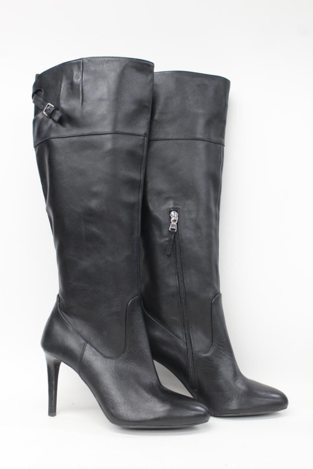 RALPH-LAUREN-Ladies-Black-Leather-Knee-High-Heeled-Boots-Size-UK7-US9B