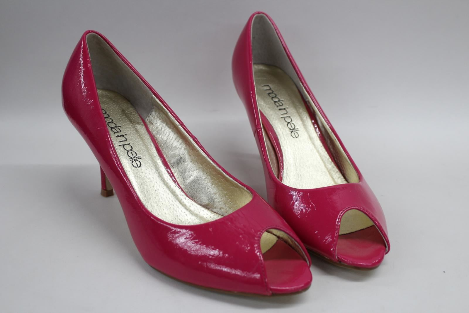 MODA-IN-PELLE-Ladies-Patent-Peep-Toe-Pink-3-034-Slim-Heel-Court-Shoes-EU39-UK6