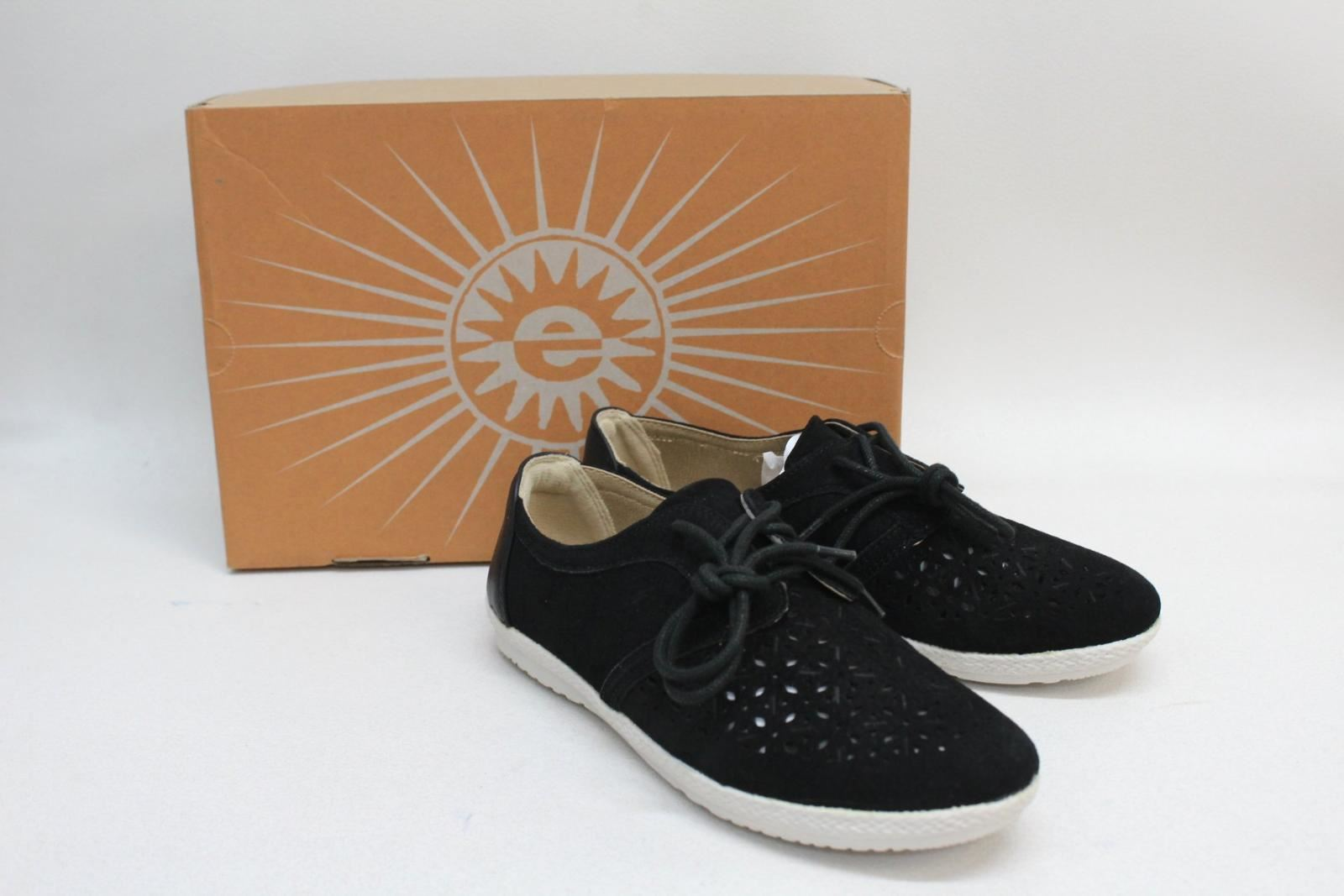 EARTH-SPIRIT-Ladies-Black-Suede-Pasadena-Lace-up-Cut-up-Shoes-UK5-EU38-NEW
