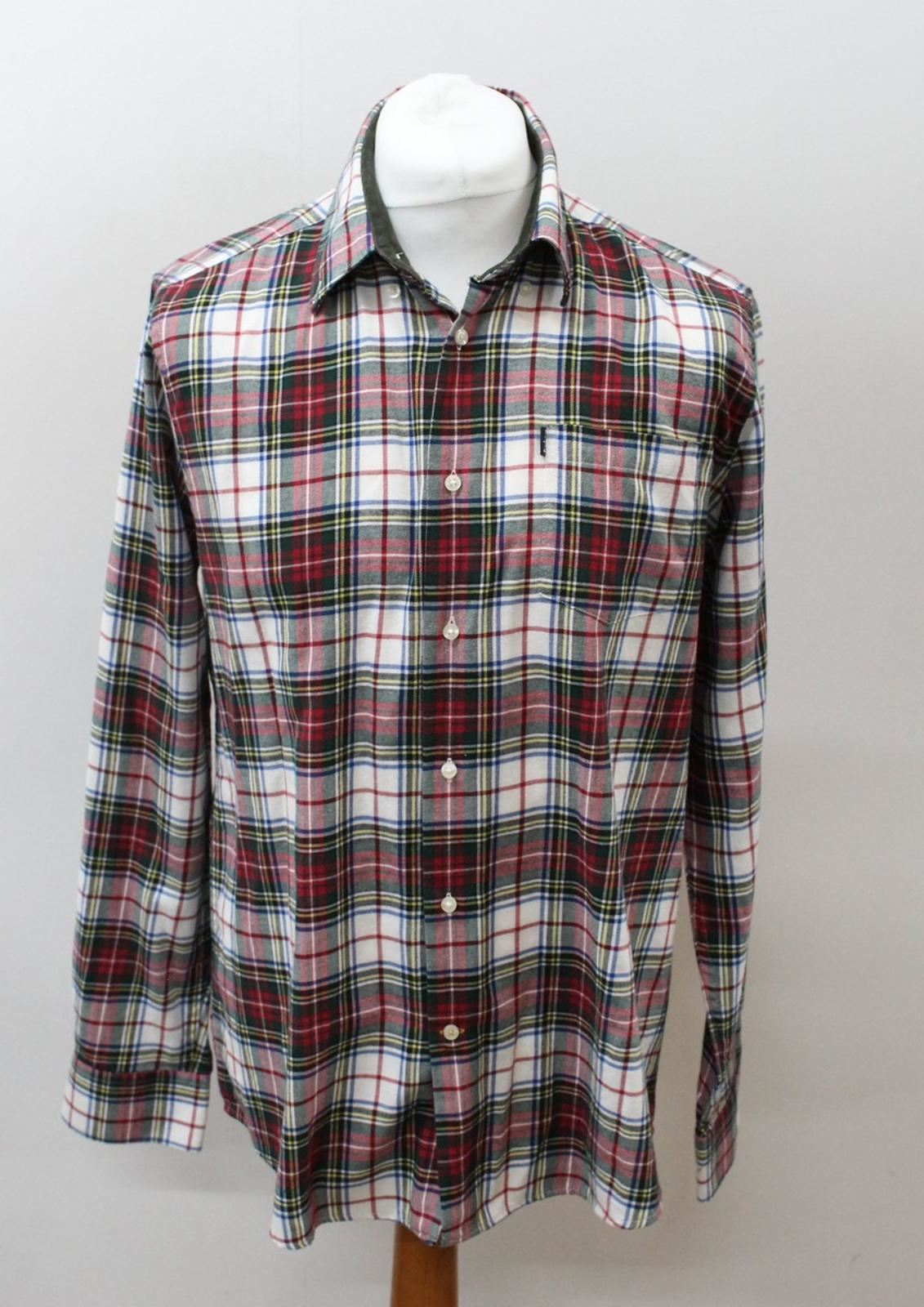 BARBOUR-Men-039-s-Ivory-Cotton-Long-Sleeve-Collared-Checked-Casual-Shirt-Size-L