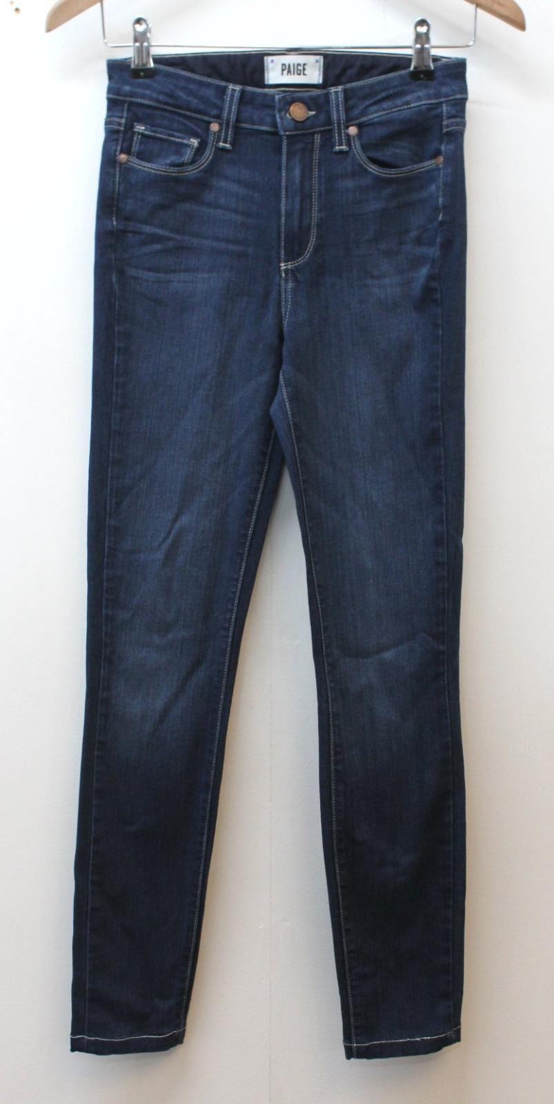 PAIGE donna blu indaco Hoxton Ultra Skinny Leg Stile Jeans Taglia W25 L27
