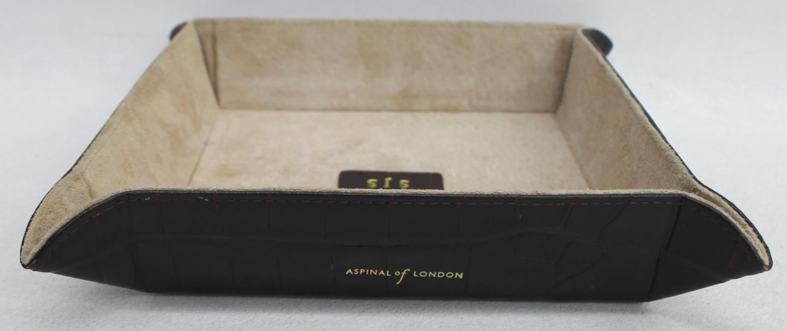 ASPINAL-OF-LONDON-Mahogany-Croc-Print-Leather-Medium-Tidy-Tray-Embossed-SJS-NEW