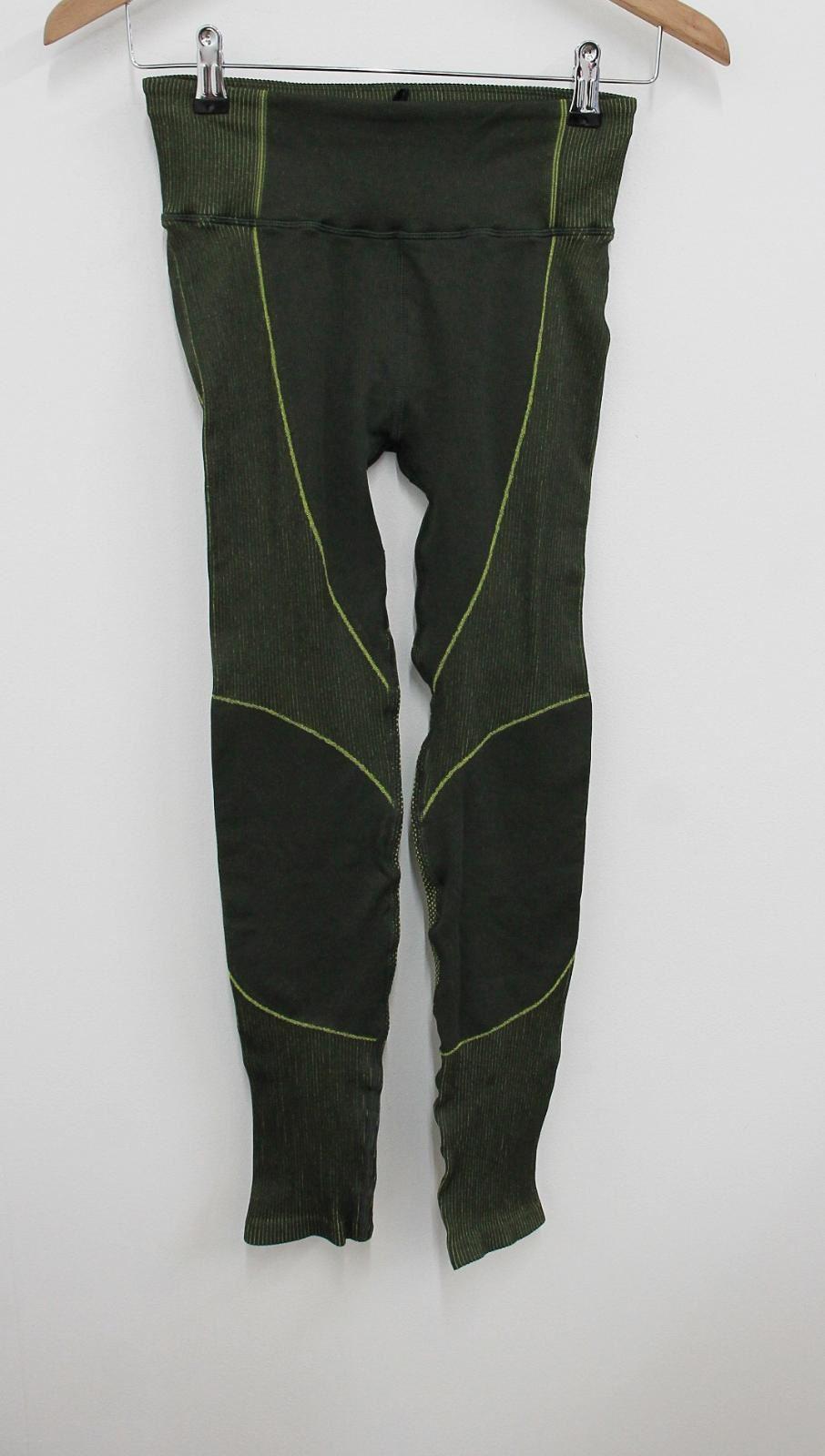 Sweaty-Betty-senoras-Neon-Verde-Amarillo-Elastico-Cintura-Alta-Leggings-S-W24-L24