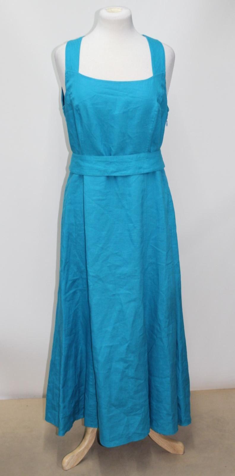 WINDSMOOR-Ladies-Turquoise-Blue-Linen-A-Line-Maxi-Long-Dress-Size-UK12-EU38