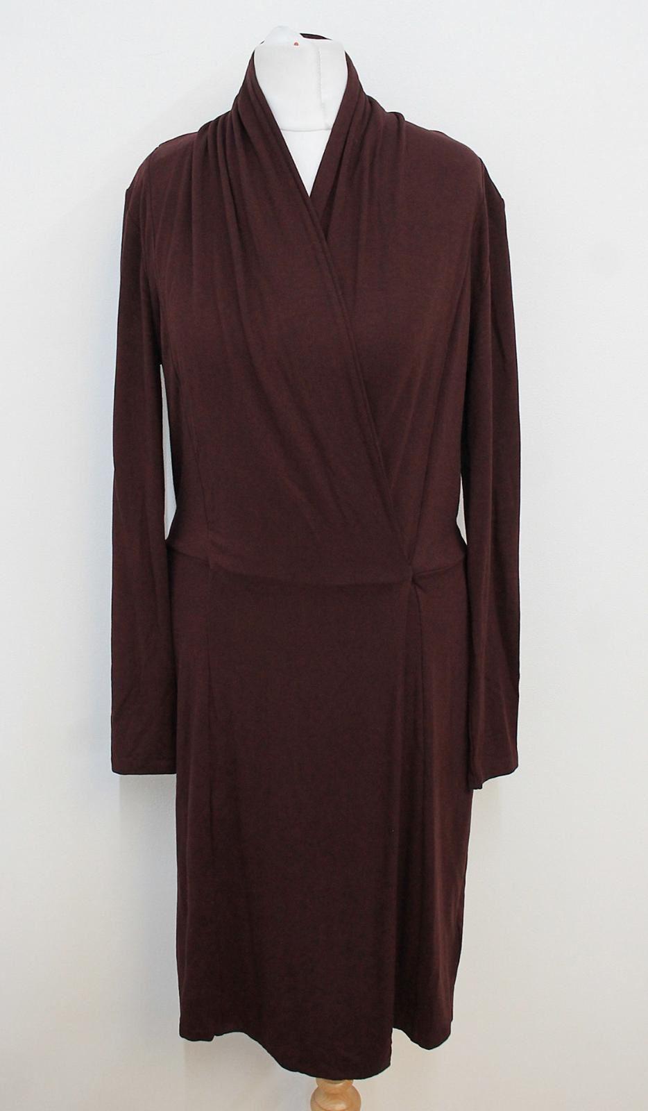 FARHI-NICOLE-FARHI-Ladies-Burgundy-Red-V-Neckline-Long-Sleeved-Shift-Dress-S