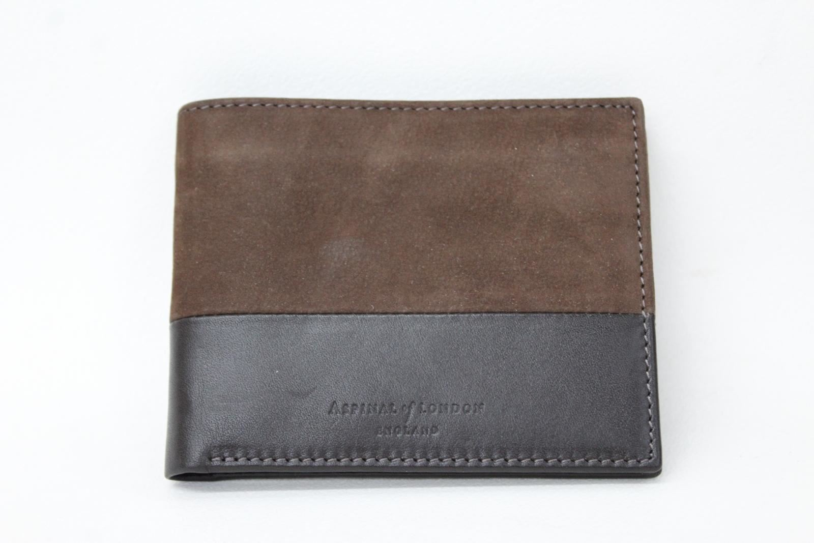 ASPINAL-OF-LONDON-Men-039-s-Smooth-Brown-Leather-amp-Nubuck-Embossed-Bifold-Wallet-NEW