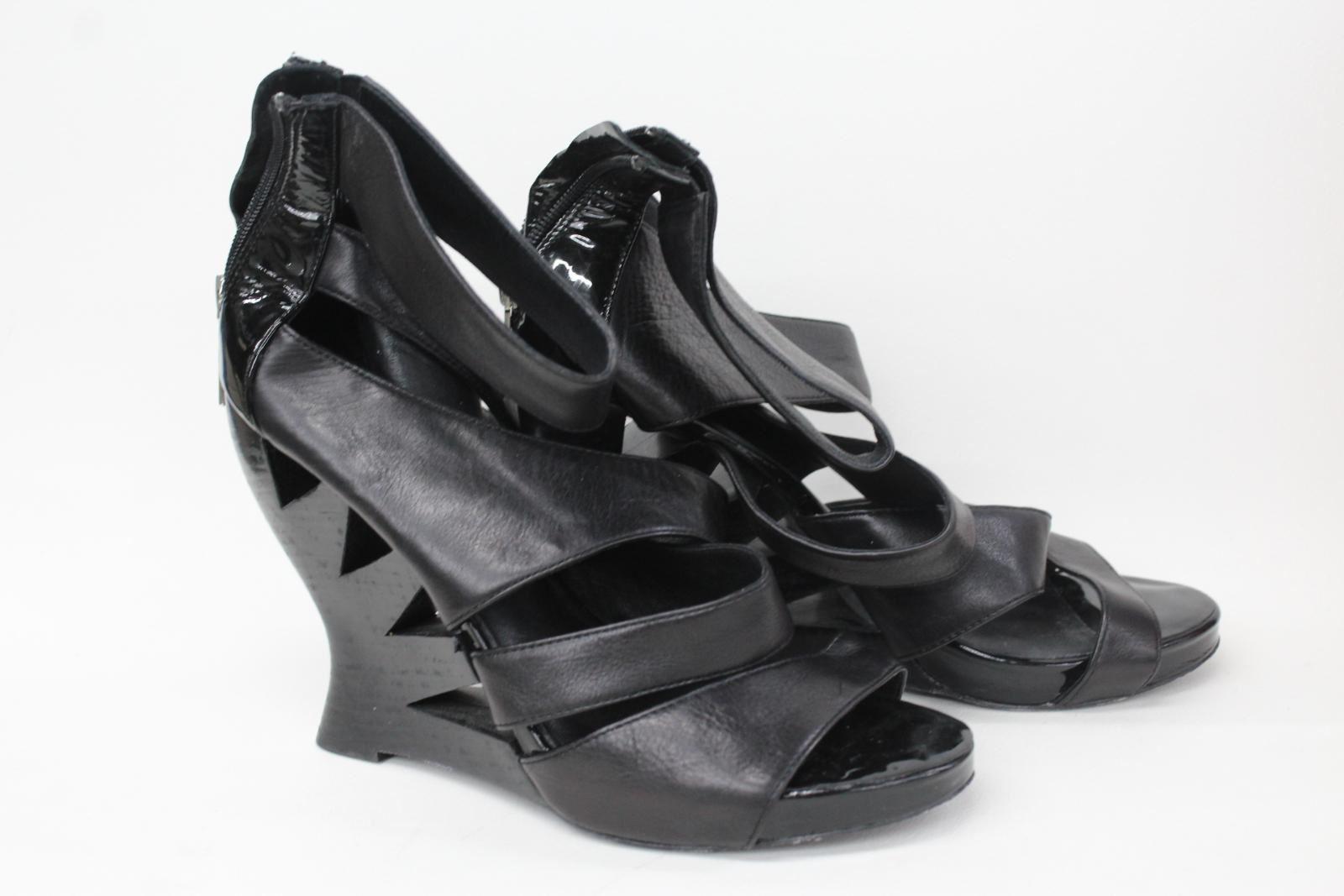 DONALD J PLINER Ladies Black Leather Strappy Wedge Sandals shoes UK7 US9M