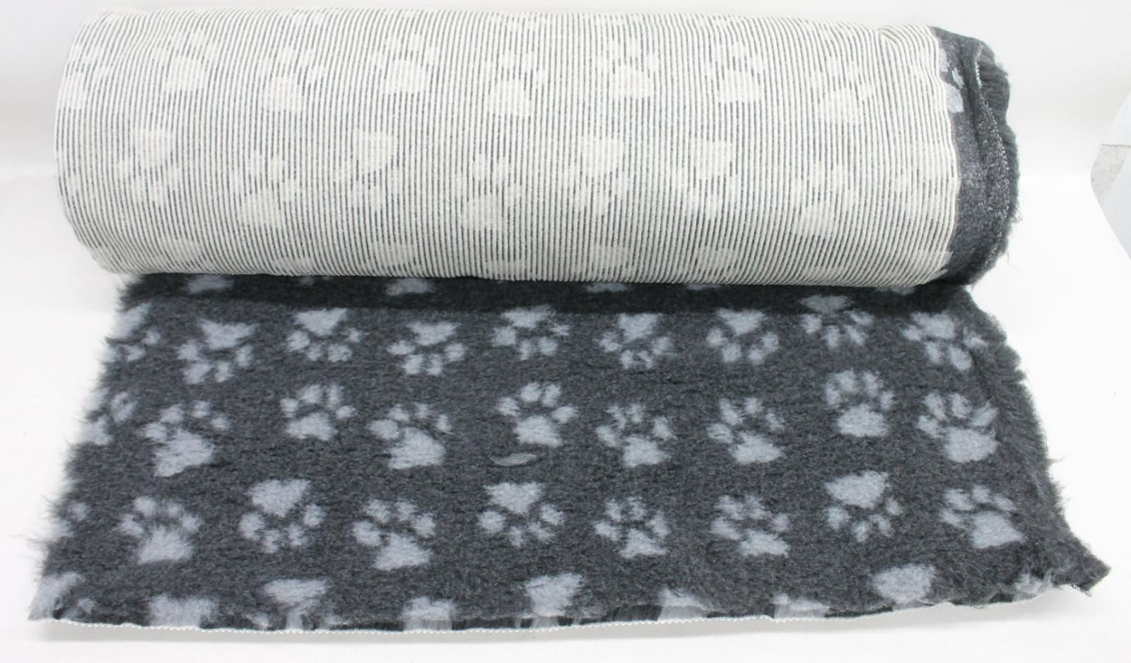 Dog Vet Bed Fleece Charcoal Grey Paw Print Non-Slip 300x75x3cm Fabric Roll NEW