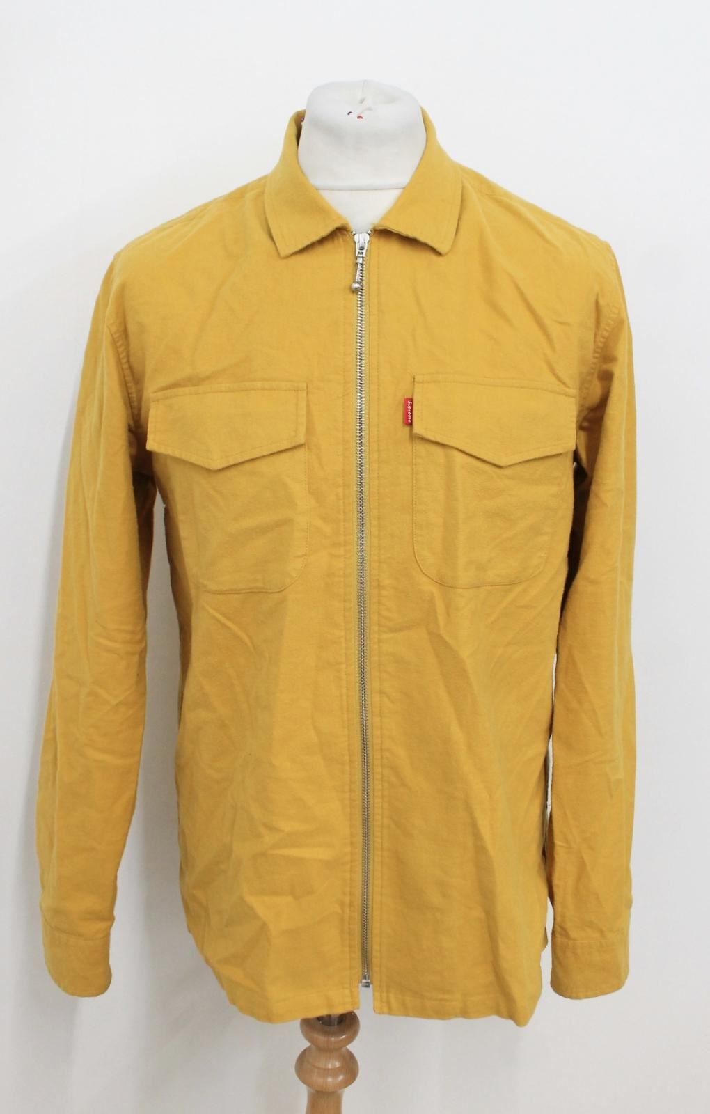 9a88ca3e SUPREME Men's Mustard Yellow Cotton Long Sleeved Collared Zip Up Shirt Size  M