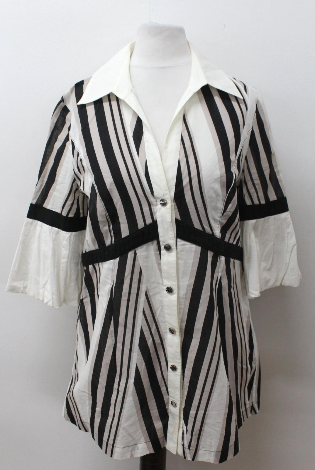 KAREN-MILLEN-Ladies-Ivory-Black-Cotton-Short-Sleeve-Striped-Shirt-UK12-EU40