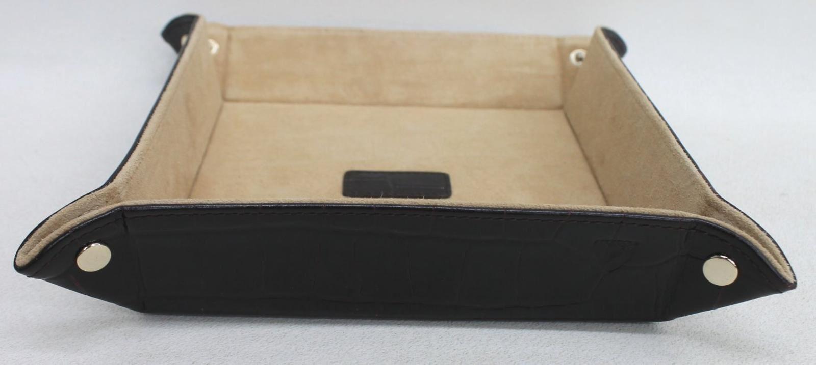 ASPINAL-OF-LONDON-Medium-Mahogany-Croc-Print-Leather-Valet-Tidy-Tray-Holder-NEW