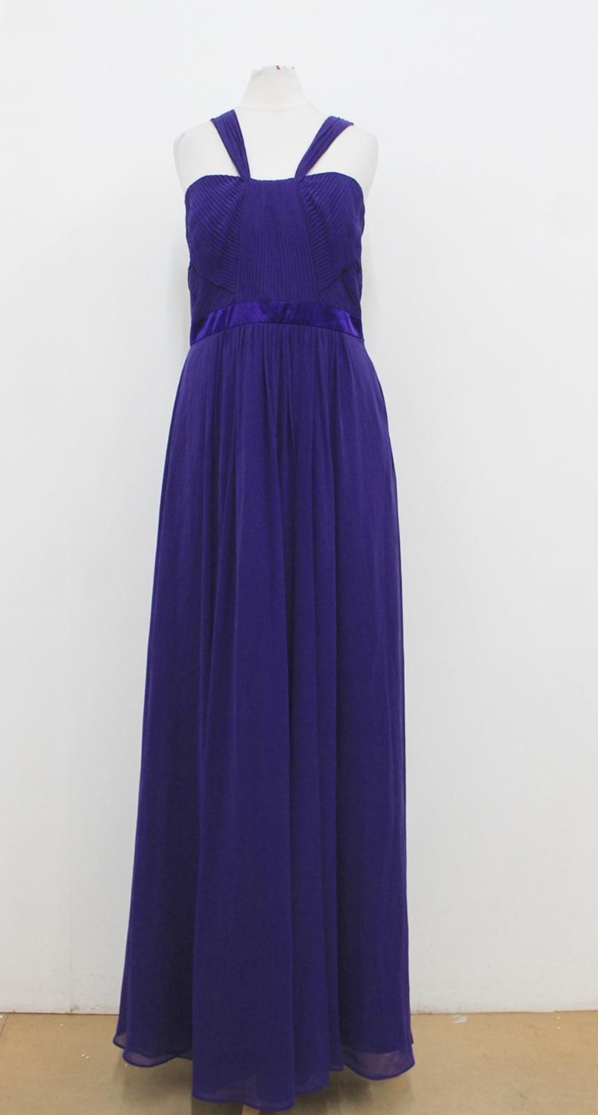 BNWT COAST Ladies Dark lila Pleated Sleeveless Evening Maxi Dress UK12