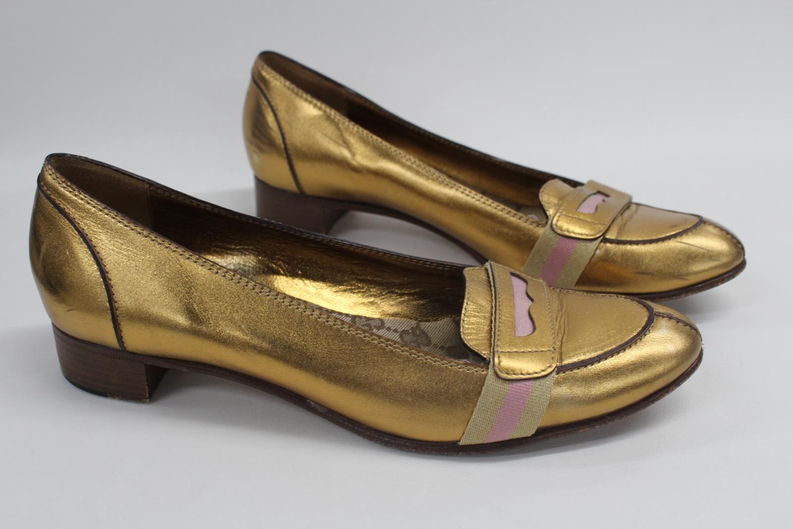 212a78ea9c7 GUCCI Ladies Metallic Slip On Low Heel Pumps Block Gold Leather Pink ...