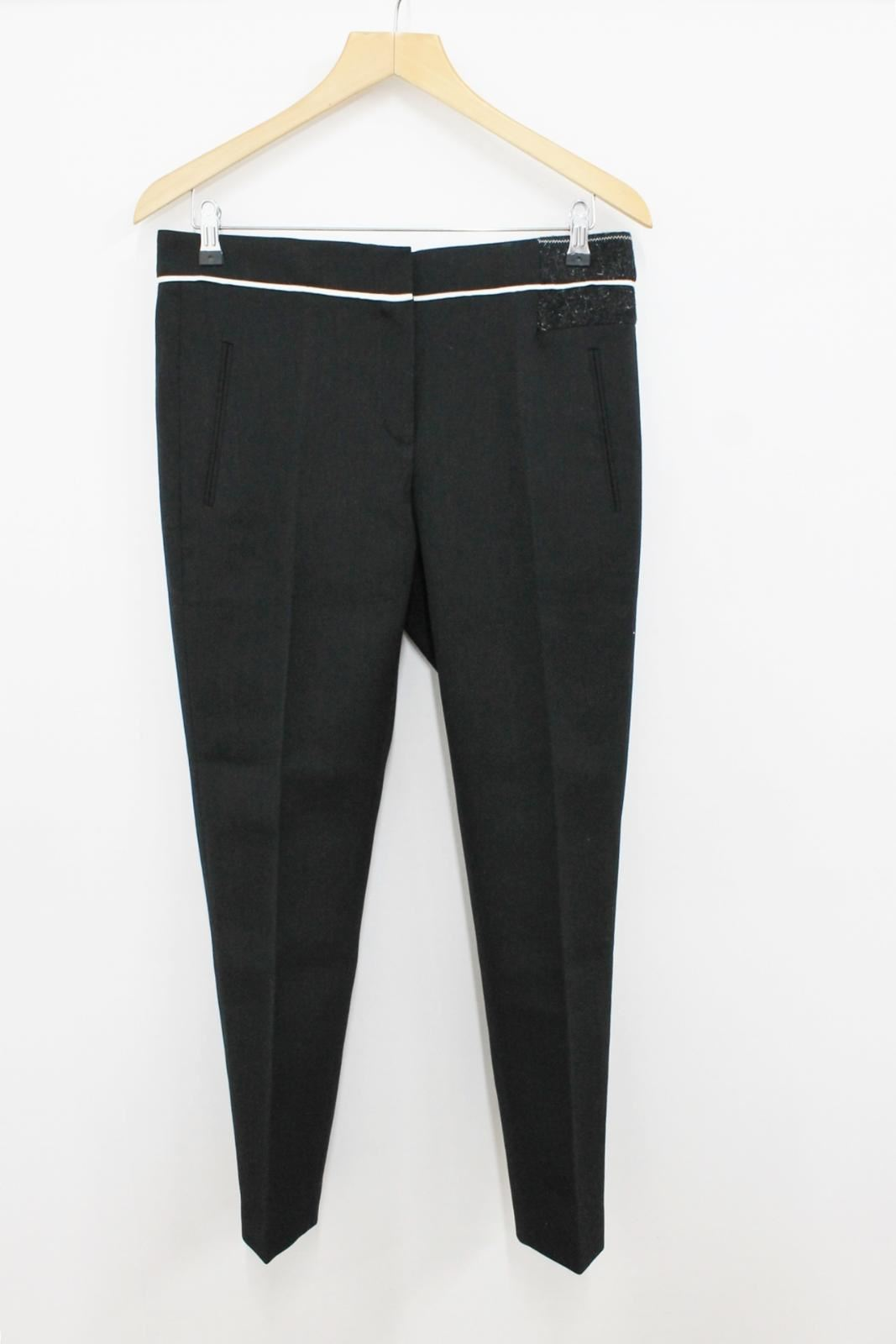 NICOLE-FARHI-Ladies-Black-Wool-High-Waisted-Cigarette-Trousers-Size-UK10