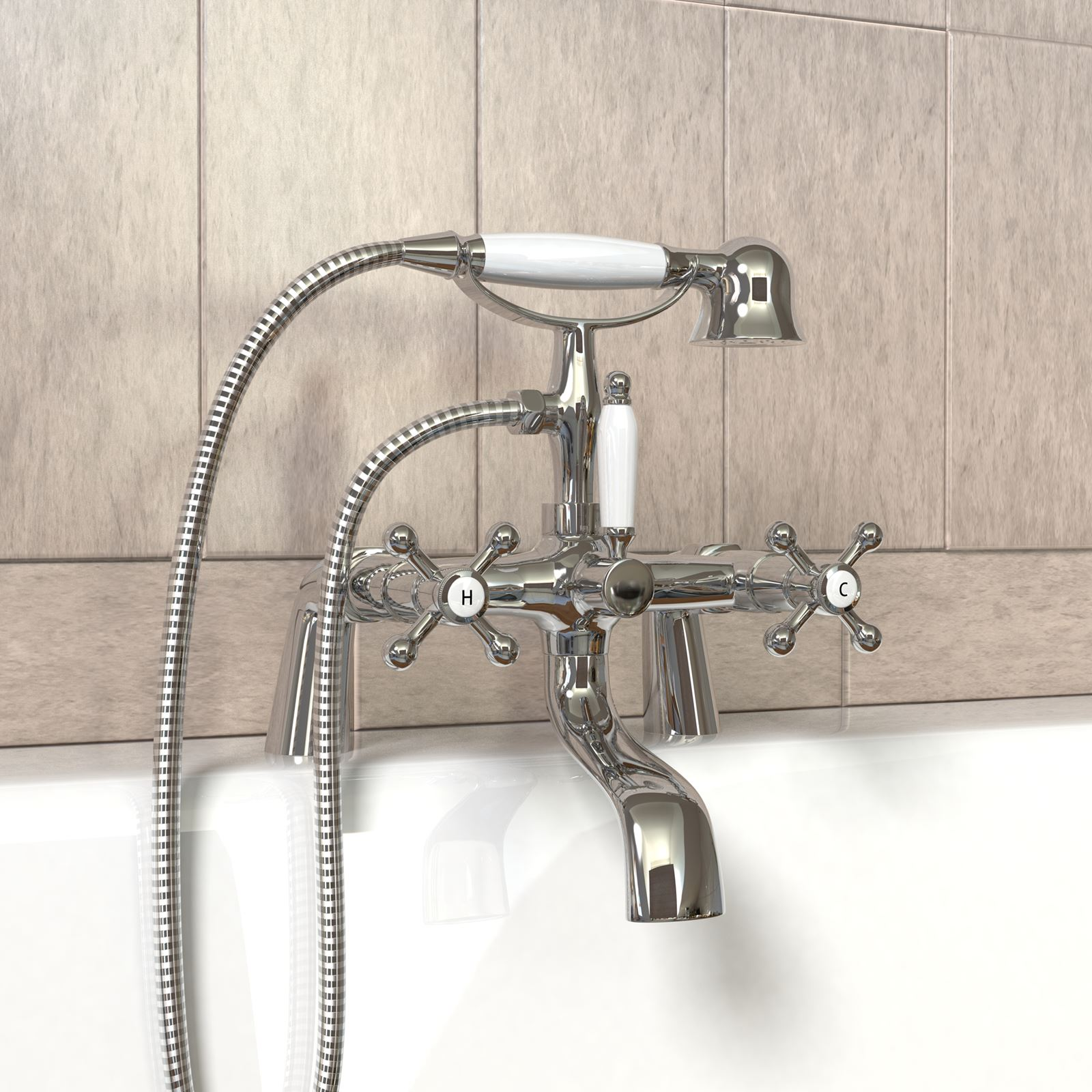 Modern Chrome Square Round Bath Mixer Tap With