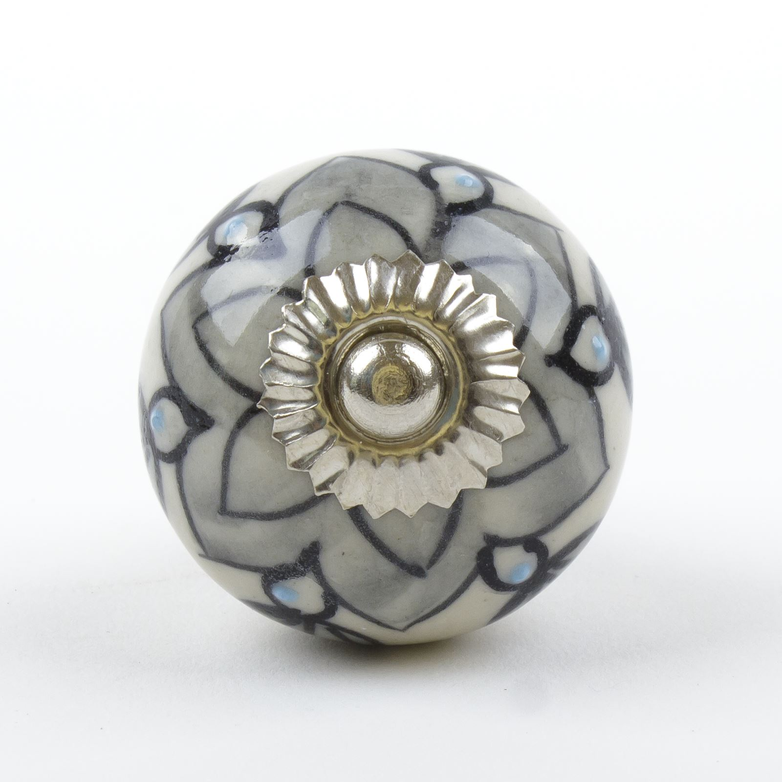 Black White Silver Grey Ceramic Door Knobs Handles
