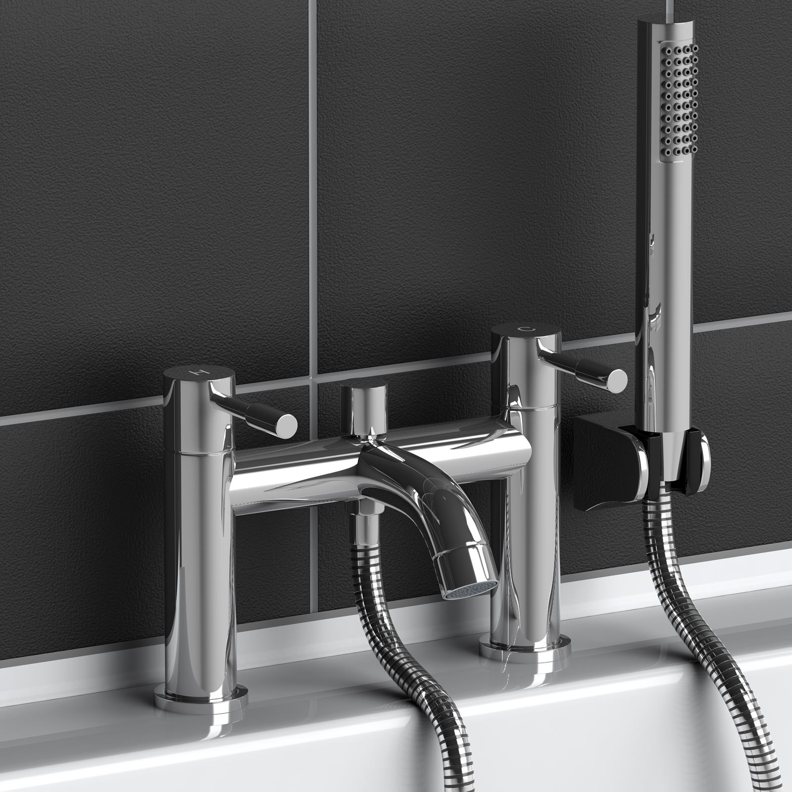 Modern Chrome Square Round Bath Mixer Tap with Handheld Shower ...