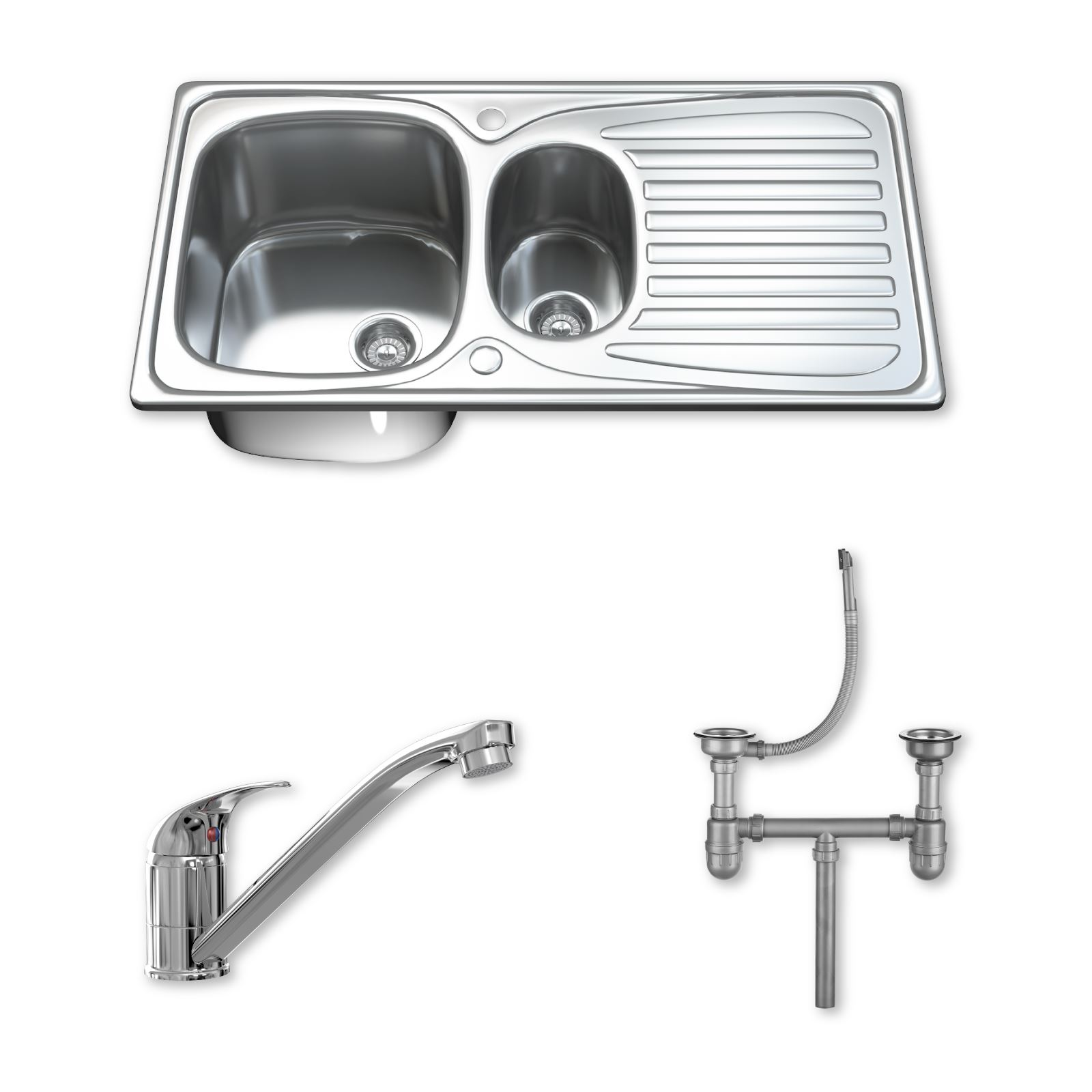 One And A Half Sink Part - 34: 1-5-One-amp-Half-Bowl-Stainless-Steel-