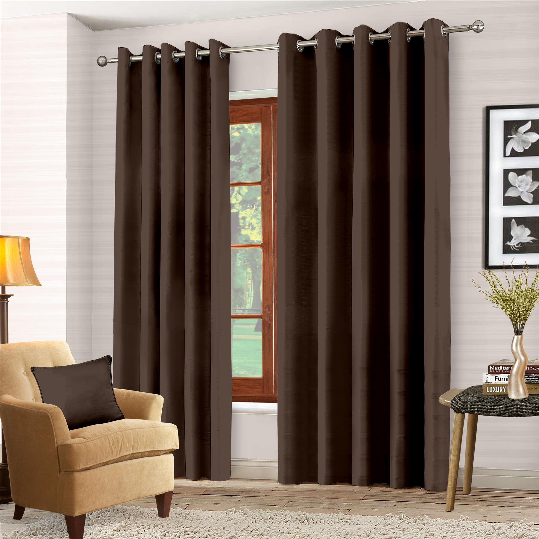 Luxury-Thermal-Blackout-Eyelet-Ring-Top-Curtains-Pair-with-tie-backs thumbnail 11