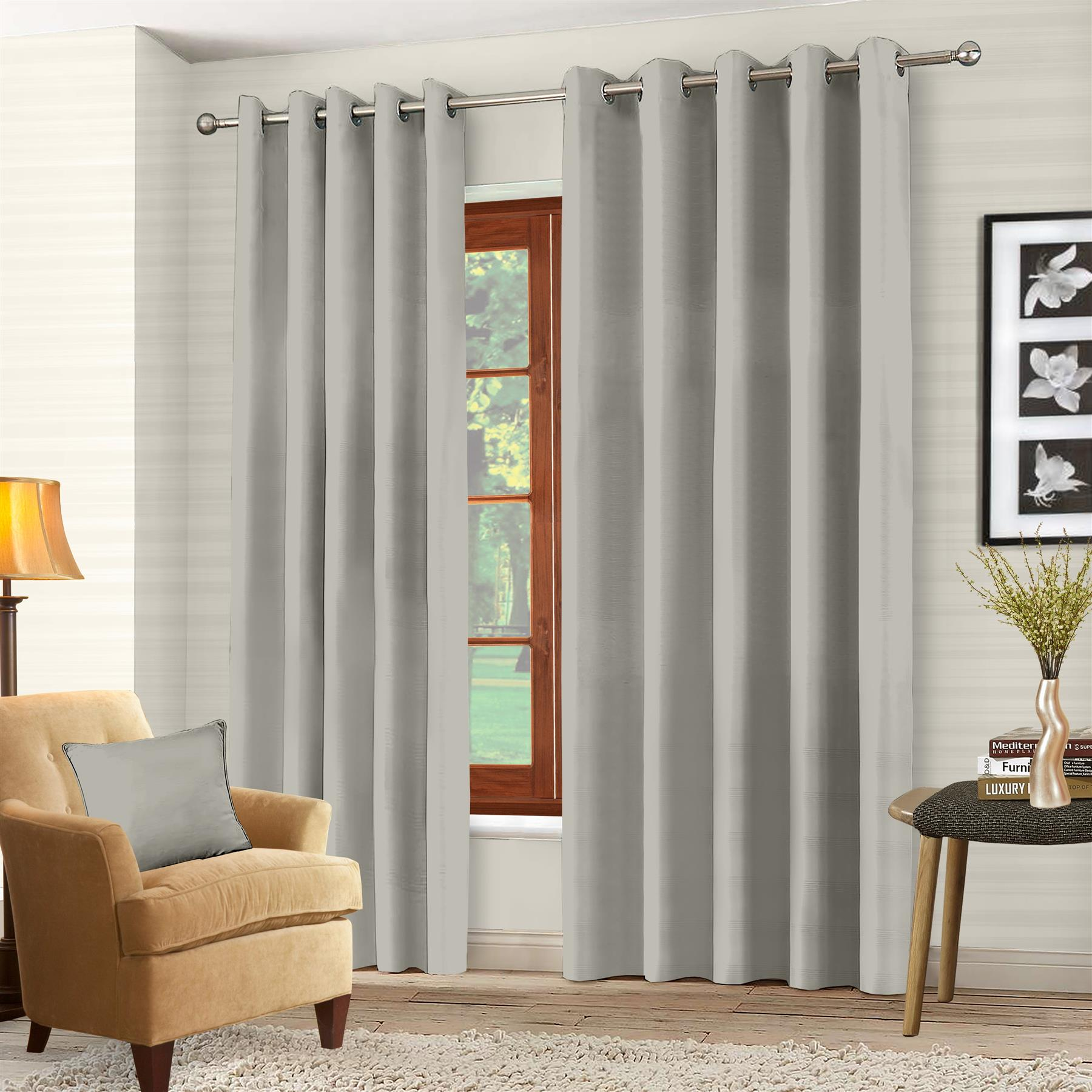 Luxury-Thermal-Blackout-Eyelet-Ring-Top-Curtains-Pair-with-tie-backs thumbnail 45