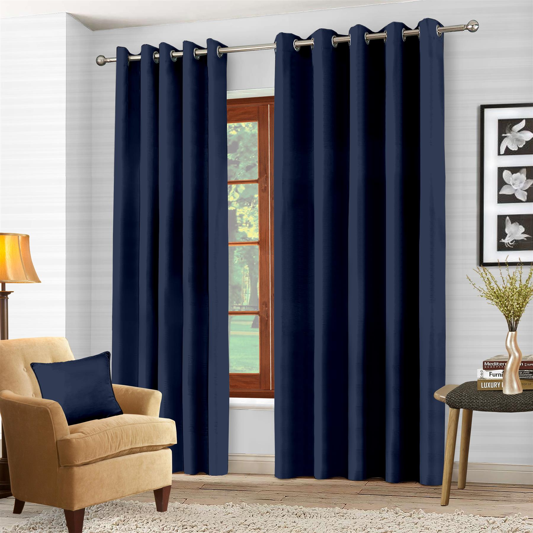 Luxury-Thermal-Blackout-Eyelet-Ring-Top-Curtains-Pair-with-tie-backs thumbnail 29