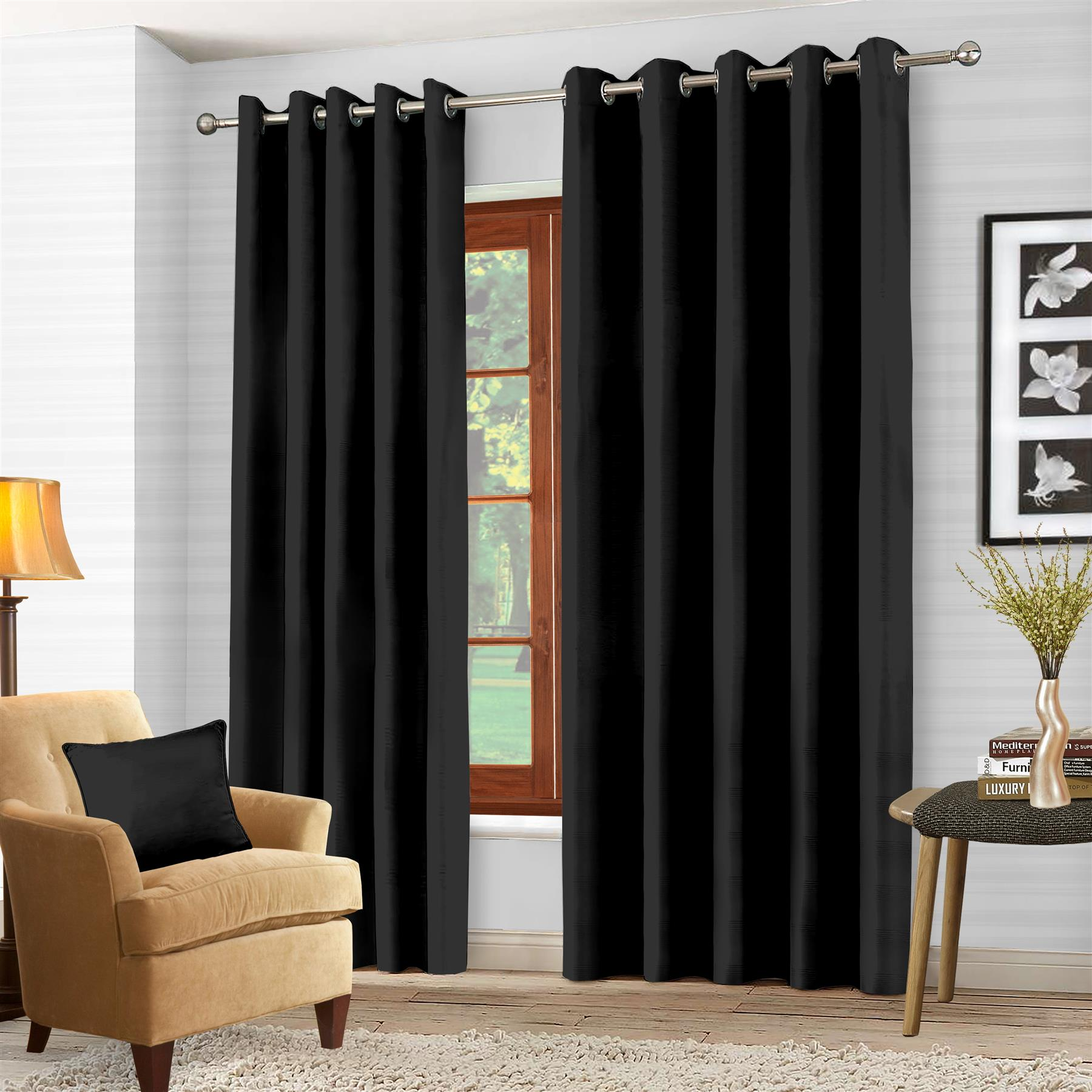 Luxury-Thermal-Blackout-Eyelet-Ring-Top-Curtains-Pair-with-tie-backs thumbnail 3