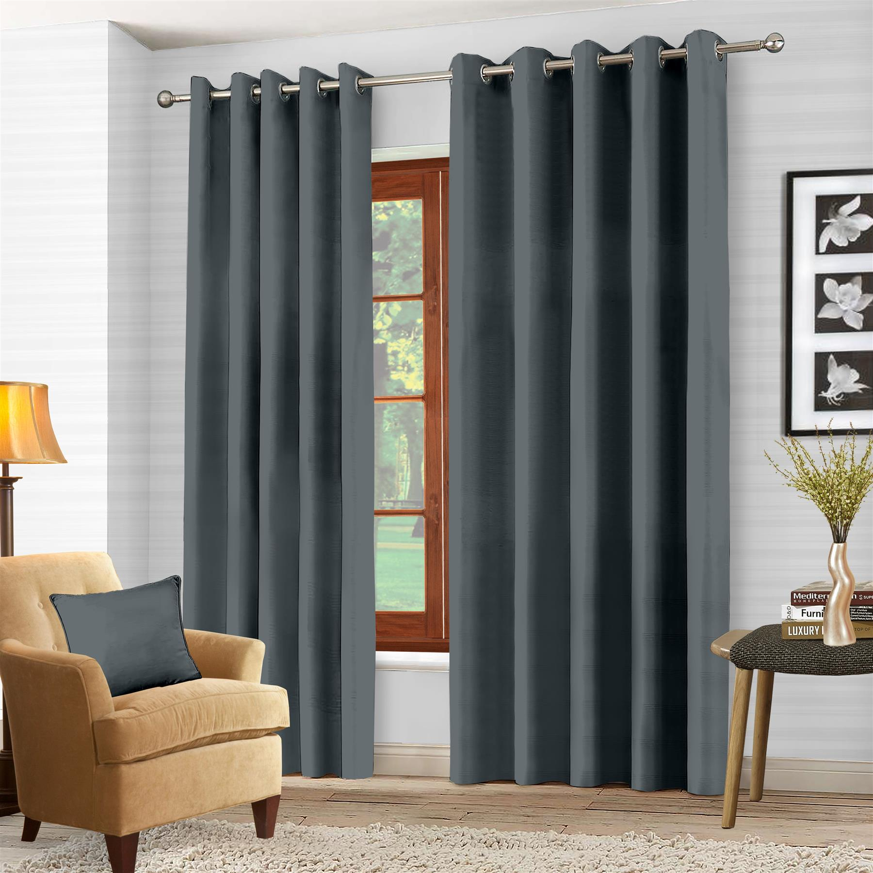 Luxury-Thermal-Blackout-Eyelet-Ring-Top-Curtains-Pair-with-tie-backs thumbnail 19