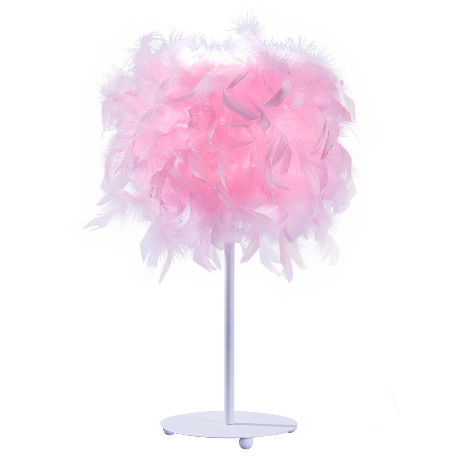 thumbnail 3 - White-Pink-Elegant-Feather-Lampshade-Bedside-Table-Desk-Lamp-Light-Decor