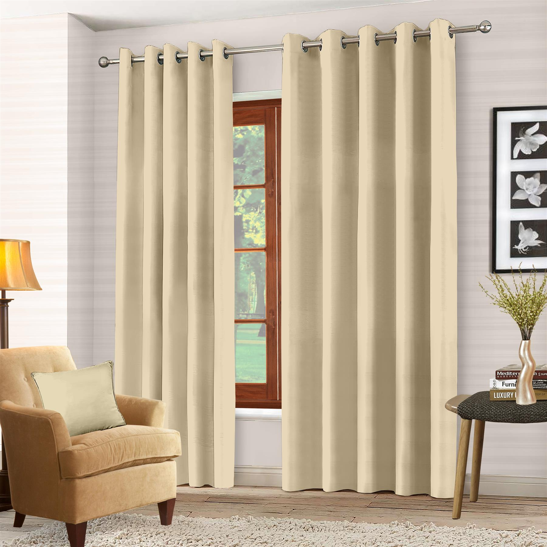 Luxury-Thermal-Blackout-Eyelet-Ring-Top-Curtains-Pair-with-tie-backs thumbnail 25