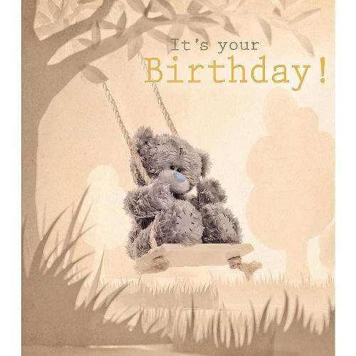 Me to You Happy Birthday Bear on Swing Greetings Card Tatty – Tatty Teddy Birthday Cards