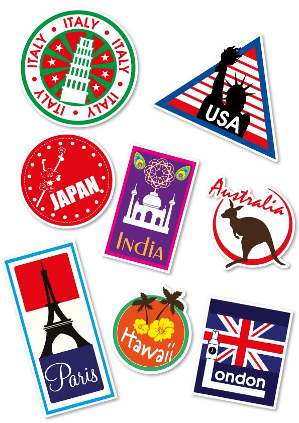 World Travel Locations Suitcase Stickers Set Of 8