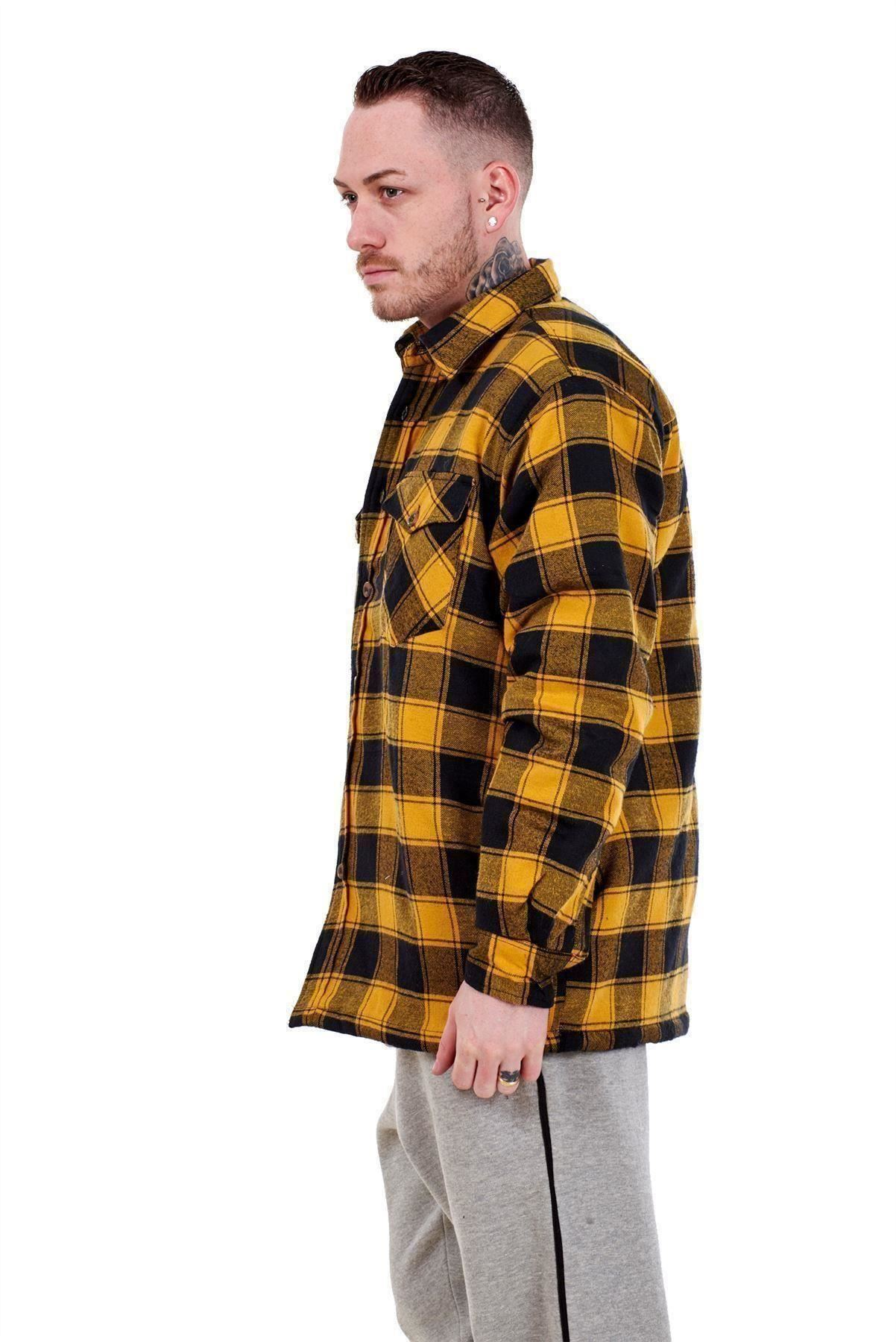 Flanella-Da-Uomo-Imbottito-Work-Shirt-Filato-Tinto-trapuntato-boscaiolo-Giacca-Regolare-amp-Big miniatura 8