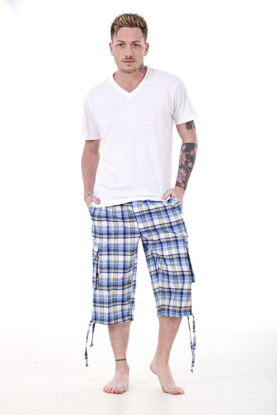 Mens-Check-Shorts-3-4-Length-by-Malay-Apparel-Cotton-Blend-Lounge-Casual-Wear thumbnail 33