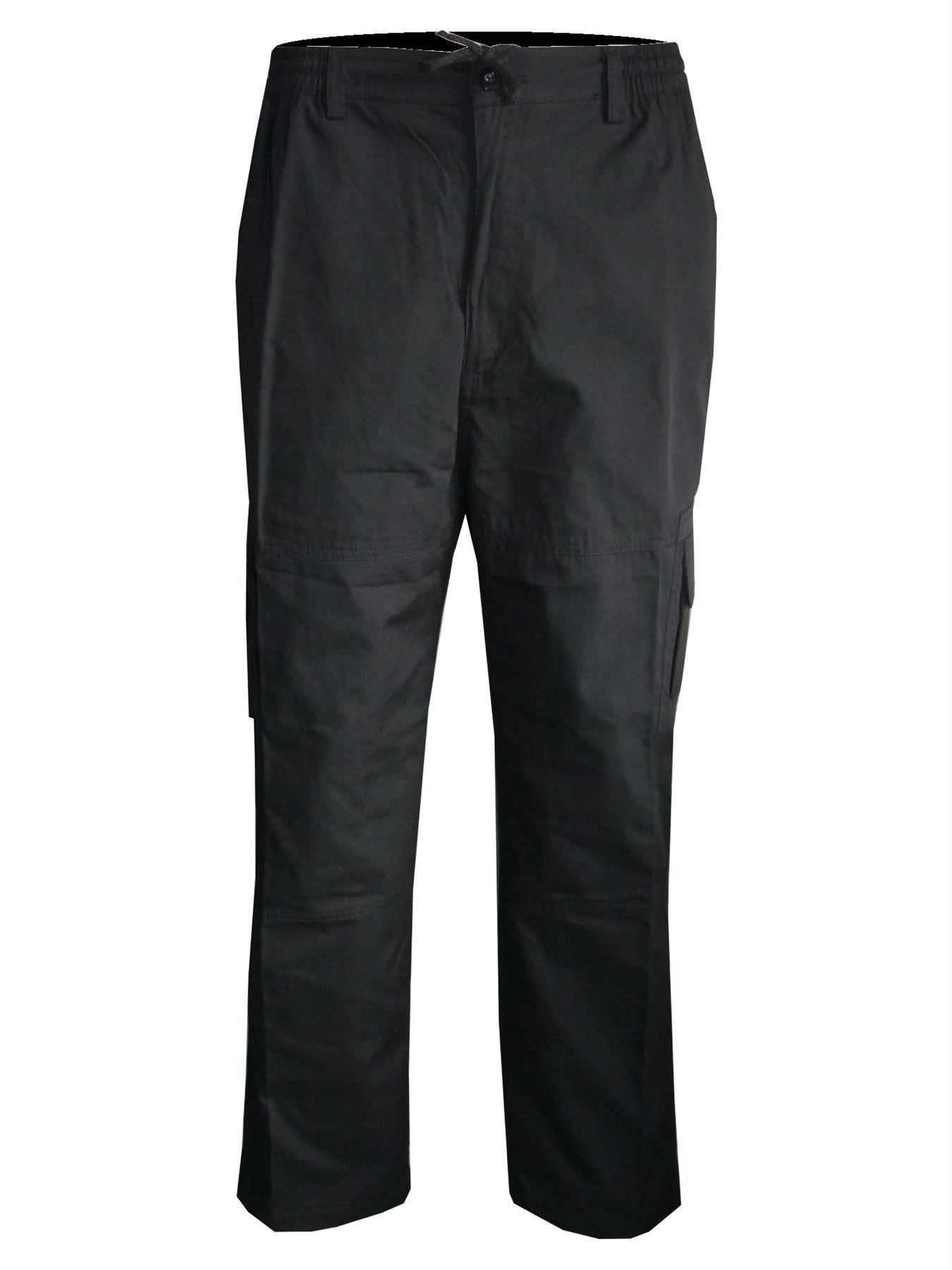 Men-Straight-Trousers-Cargo-Combat-Cotton-Elasticated-Zip-Fly-Casual-Pants-M-3XL thumbnail 6