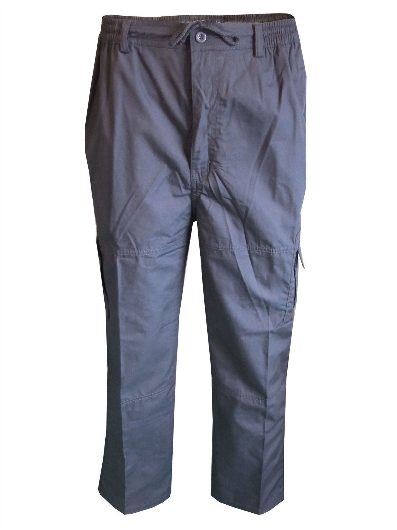 Men-Straight-Trousers-Cargo-Combat-Cotton-Elasticated-Zip-Fly-Casual-Pants-M-3XL thumbnail 21