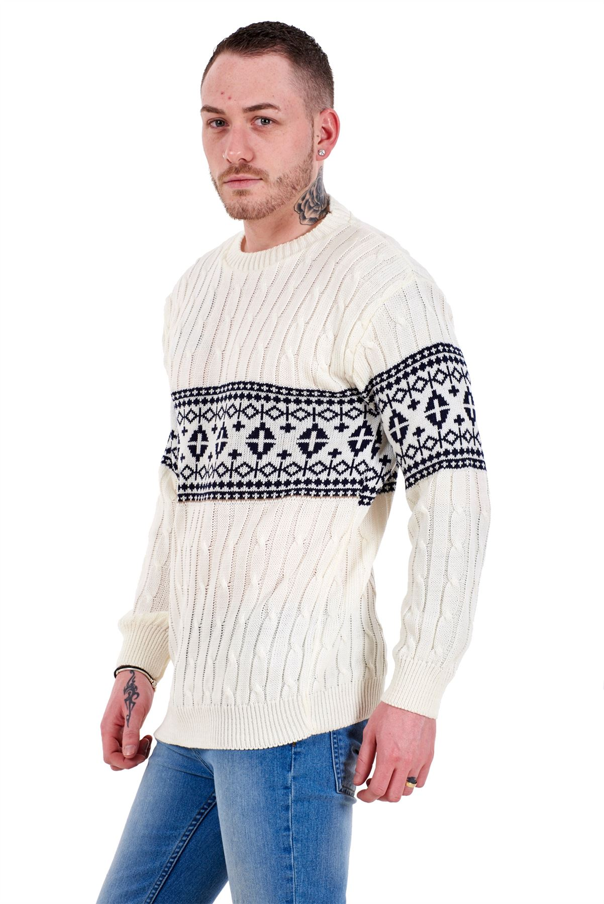 Mens-New-Cable-Knit-Jacquard-Long-Sleeve-Pullover-Jumper-Sweater-S-to-XL thumbnail 8