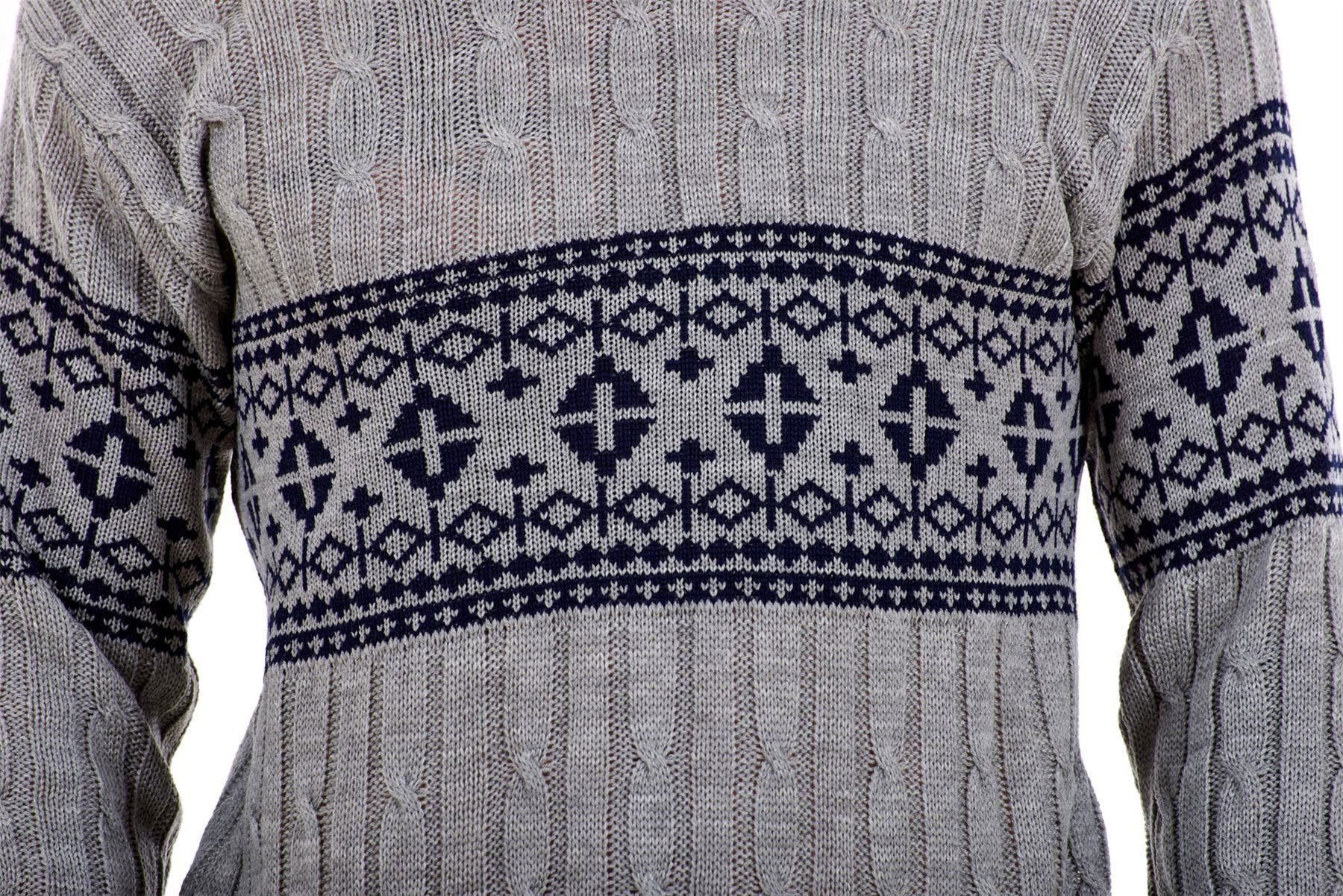Mens-New-Cable-Knit-Jacquard-Long-Sleeve-Pullover-Jumper-Sweater-S-to-XL thumbnail 12