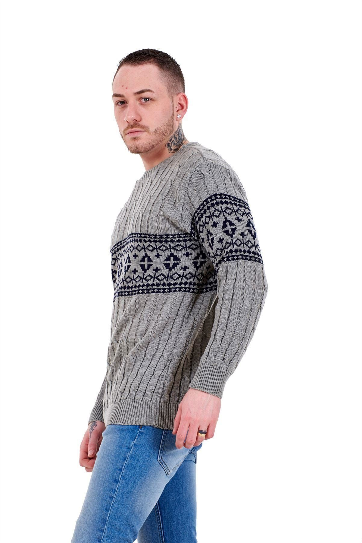 Mens-New-Cable-Knit-Jacquard-Long-Sleeve-Pullover-Jumper-Sweater-S-to-XL thumbnail 13