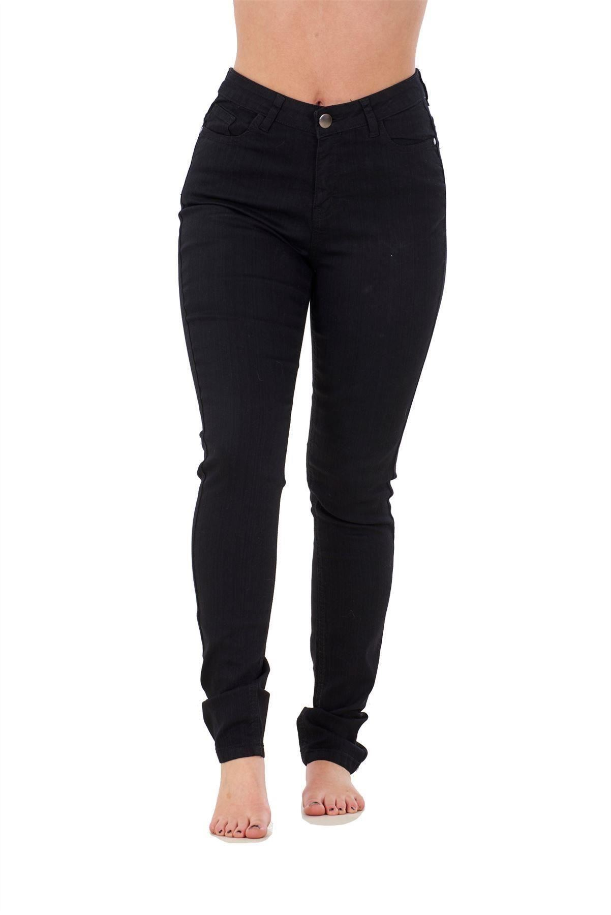 Ladies-Stretch-Jeans-Denim-cotton-Zip-fly-High-Waisted-Slim-Fit-Trousers-Pants thumbnail 5