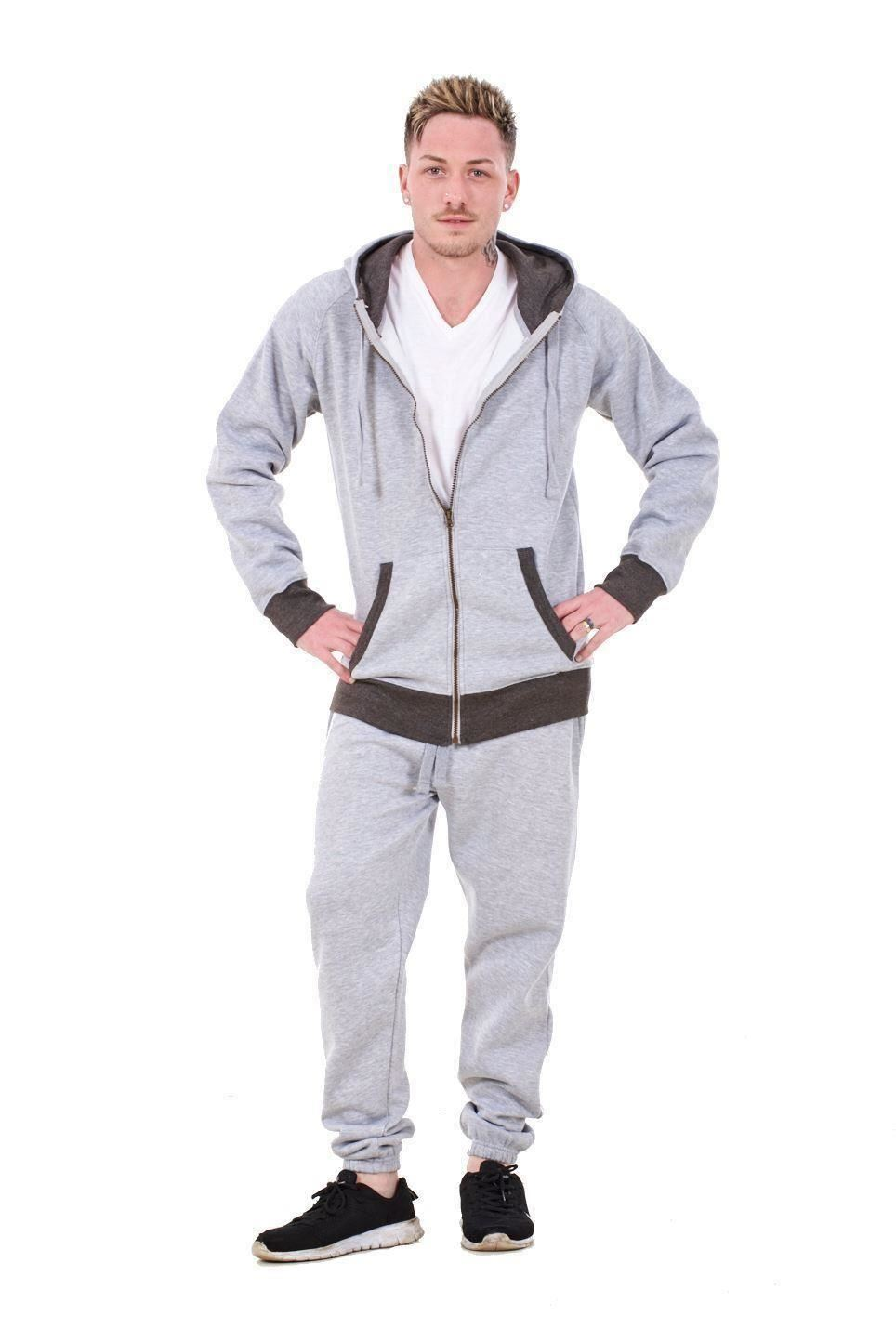 New-Mens-Tracksuit-Branded-Fleece-Hooded-Zipper-Cotton-Jogging-Bottoms-S-to-XXL thumbnail 7