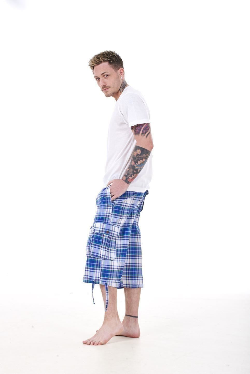 Mens-Check-Shorts-3-4-Length-by-Malay-Apparel-Cotton-Blend-Lounge-Casual-Wear thumbnail 46