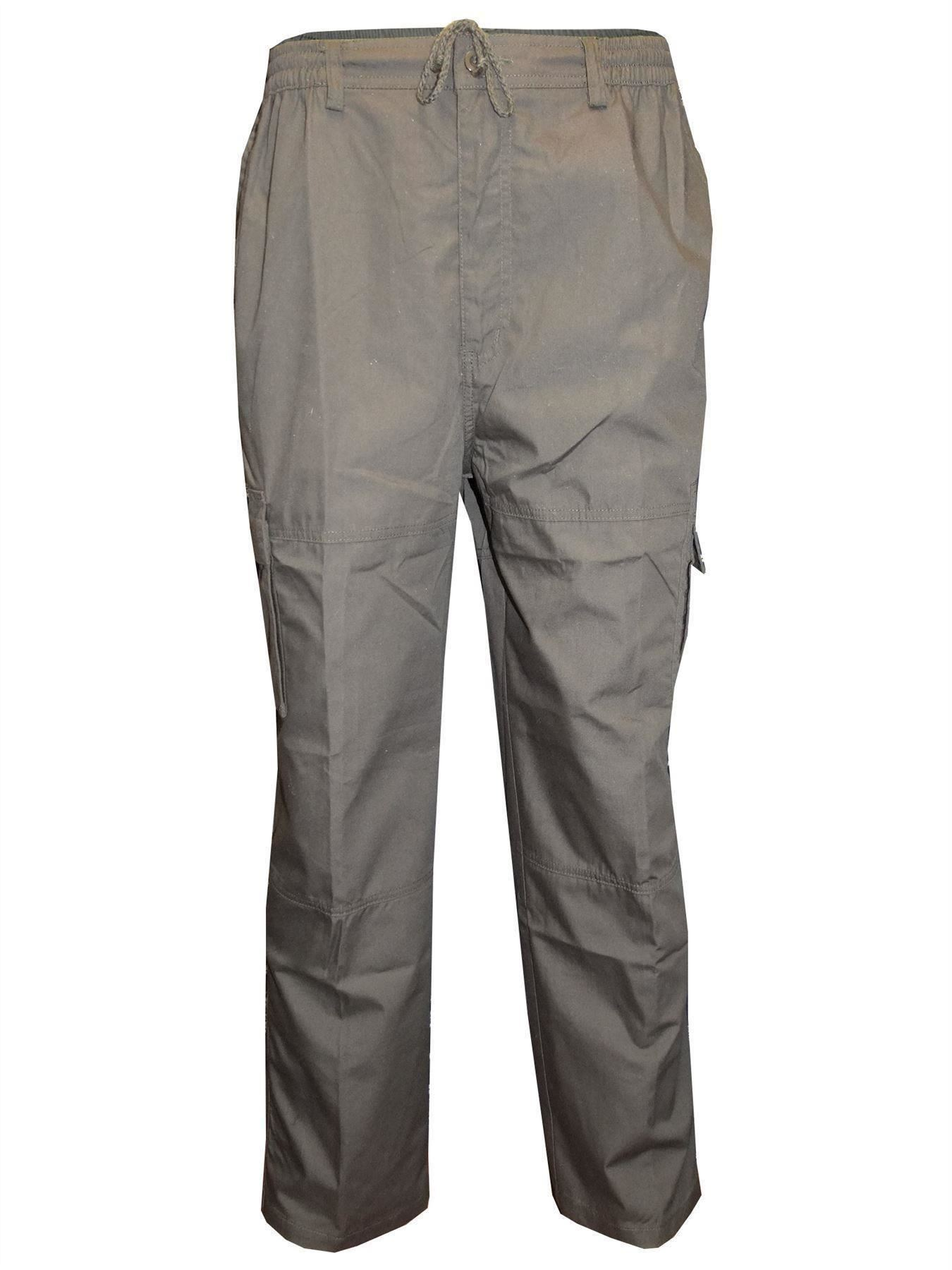 Men-Straight-Trousers-Cargo-Combat-Cotton-Elasticated-Zip-Fly-Casual-Pants-M-3XL thumbnail 9