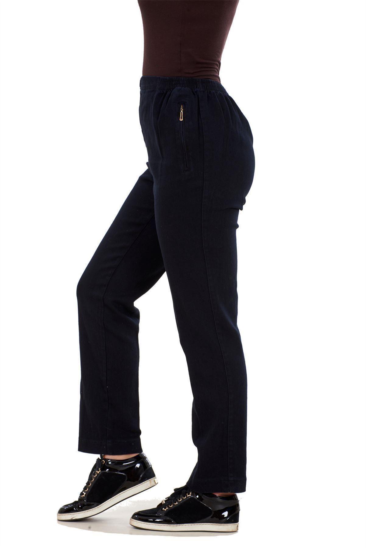 Ladies-Women-Trousers-Rayon-Cotton-Pockets-Elasticated-Stretch-Black-pants-8-24 thumbnail 7