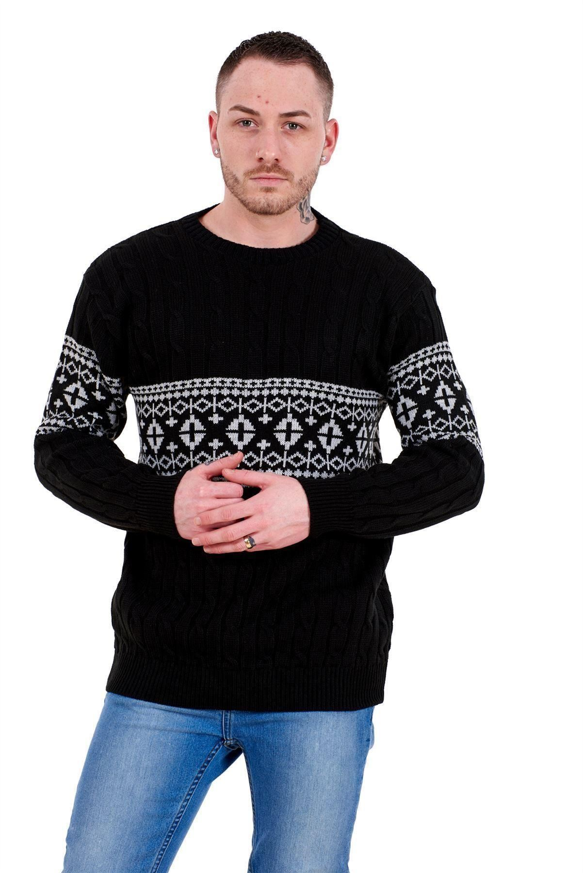 Mens-New-Cable-Knit-Jacquard-Long-Sleeve-Pullover-Jumper-Sweater-S-to-XL thumbnail 4